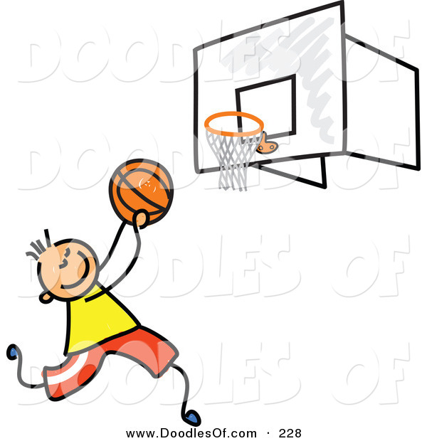 Vector Clipart of a Childs Sketch of a Boy Playing Basketball on a Court