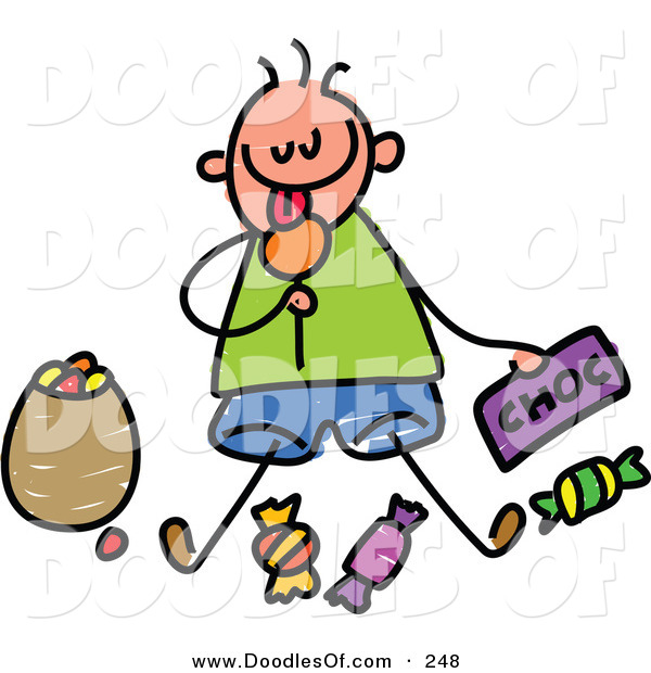 Vector Clipart of a Childs Sketch of a Boy Sitting Eating Candy