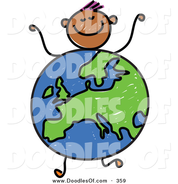 Vector Clipart of a Childs Sketch of a Boy with a Globe Body Centered on Europe