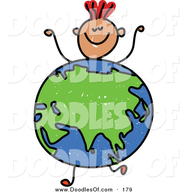 Vector Clipart of a Childs Sketch of a Boy with a Globe Featuring Asia for a Body