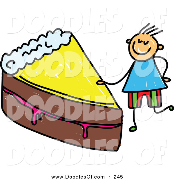 Vector Clipart of a Childs Sketch of a Boy with a Slice of Chocolate Cake