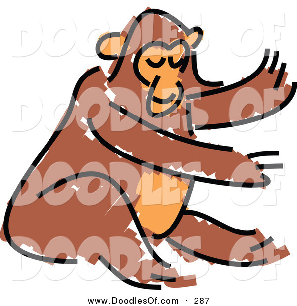 Vector Clipart of a Childs Sketch of a Brown Monkey on White