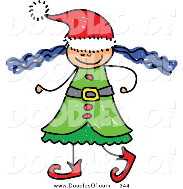 Vector Clipart of a Childs Sketch of a Christmas Elf Girl with Wild Hair