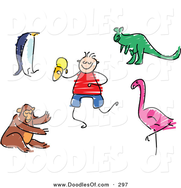 Vector Clipart of a Childs Sketch of a Digital Set of Zoo Animals on White