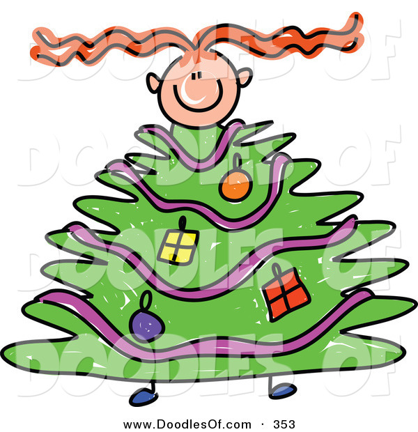 Vector Clipart of a Childs Sketch of a Girl Climbing Within a Christmas Tree Body