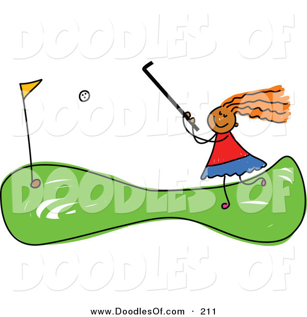 Vector Clipart of a Childs Sketch of a Girl Mini Golfing