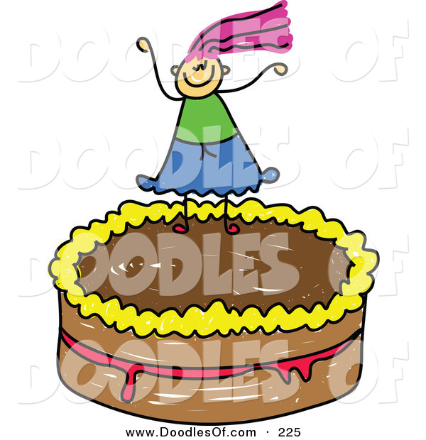 Vector Clipart of a Childs Sketch of a Girl on a Chocolate Cake