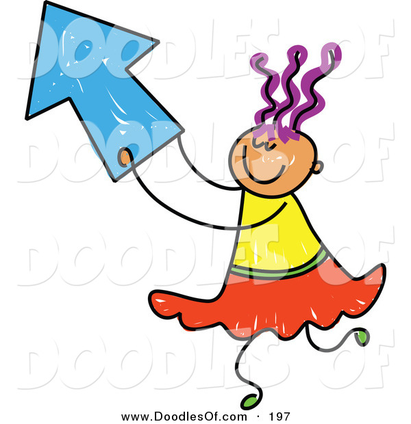 Vector Clipart of a Childs Sketch of a Girl Playing with a Blue Arrow