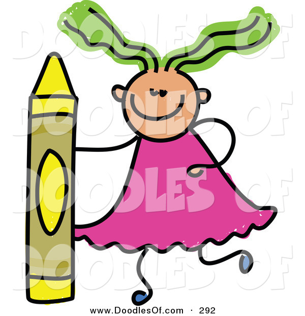 Vector Clipart of a Childs Sketch of a Girl with a Crayon on White