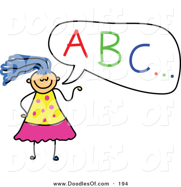 Vector Clipart of a Childs Sketch of a Girl with ABC in a Speech Bubble