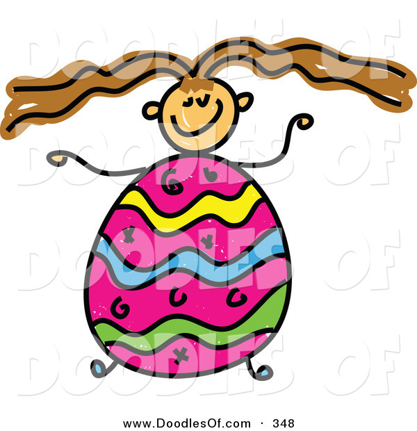 Vector Clipart of a Childs Sketch of a Girl with an Easter Egg Body and Crazy Hair
