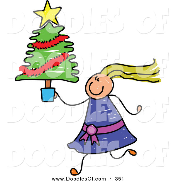 Vector Clipart of a Childs Sketch of a Girl with Crazy Hair Carrying a Small Christmas Tree