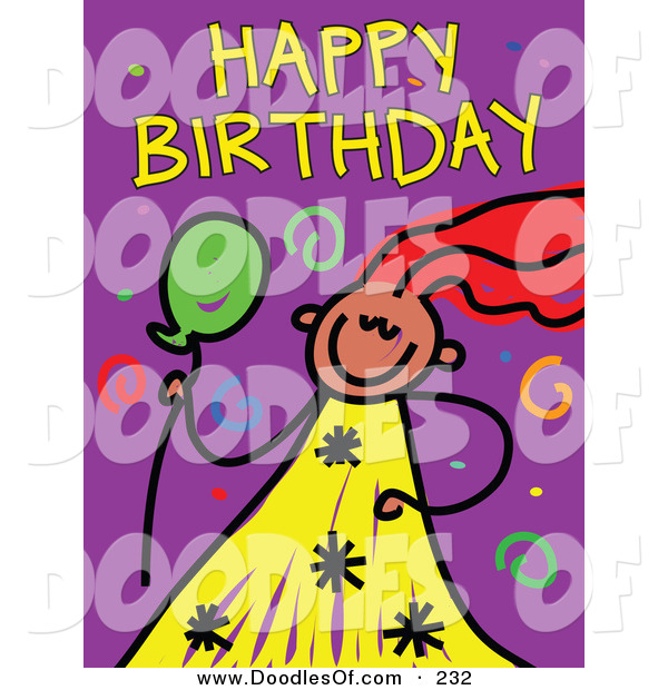 Vector Clipart of a Childs Sketch of a Girl with Happy Birthday Text and Spirals on Purple