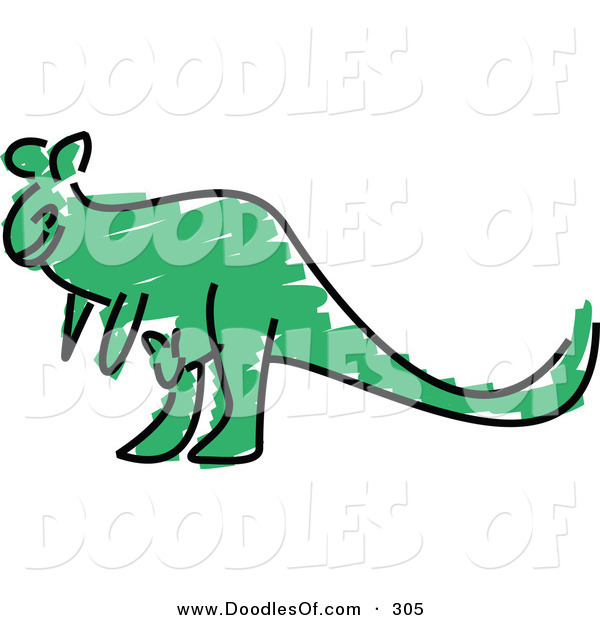 Vector Clipart of a Childs Sketch of a Green Kangaroo on White