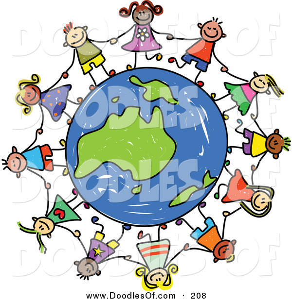 Vector Clipart of a Childs Sketch of a Group of Children Holding Hands Around an Australian Globe