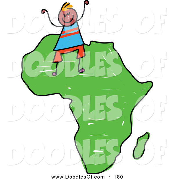 Vector Clipart of a Childs Sketch of a Happy African Boy on the African Continent