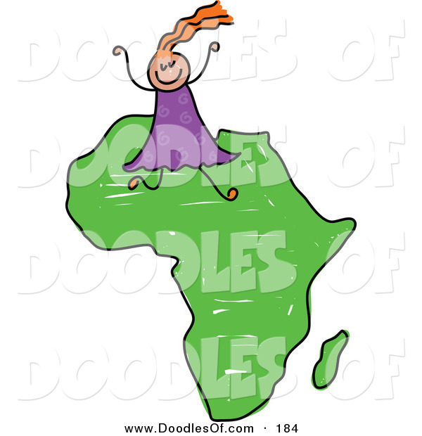 Vector Clipart of a Childs Sketch of a Happy African Girl with Orange Hair on Africa
