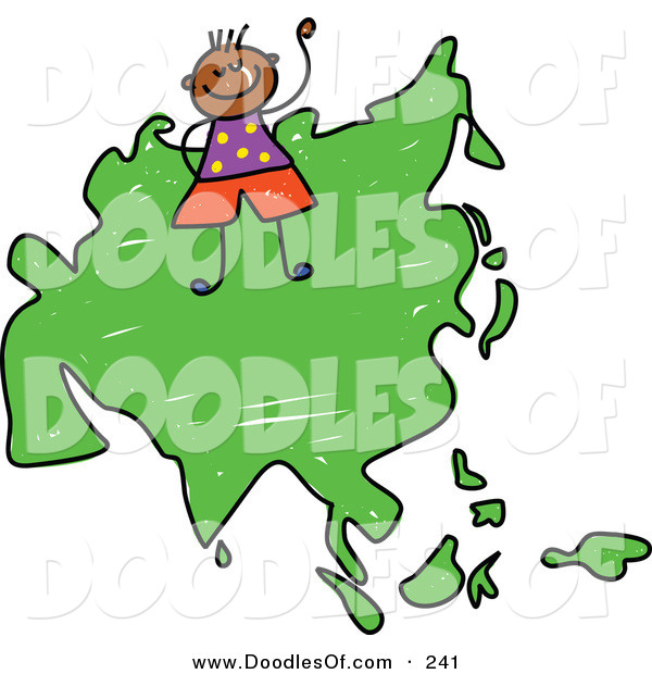 Vector Clipart of a Childs Sketch of a Happy Asian Boy on a Map of Asia on White