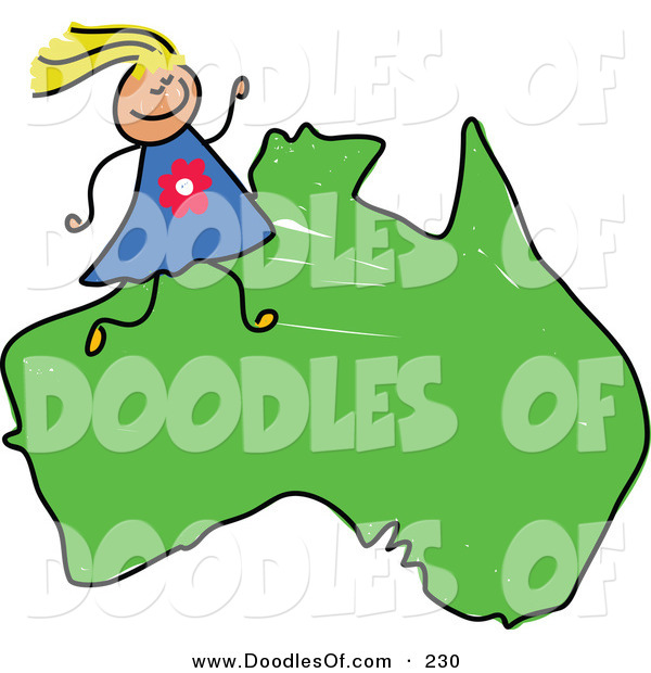 Vector Clipart of a Childs Sketch of a Happy Australian Girl on a Map of Australia