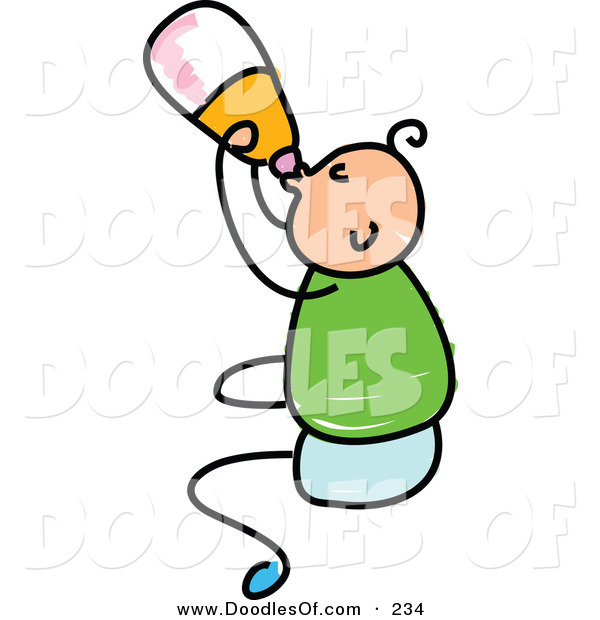 Vector Clipart of a Childs Sketch of a Happy Baby Boy Drinking from a Bottle