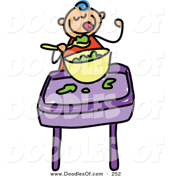 Vector Clipart of a Childs Sketch of a Happy Baby Boy Eating Food
