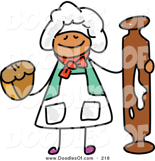 Vector Clipart of a Childs Sketch of a Happy Baker with a Rolling Pin and Muffin