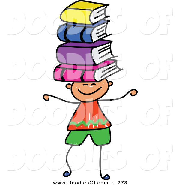 Vector Clipart of a Childs Sketch of a Happy Boy Balancing Books on His Head