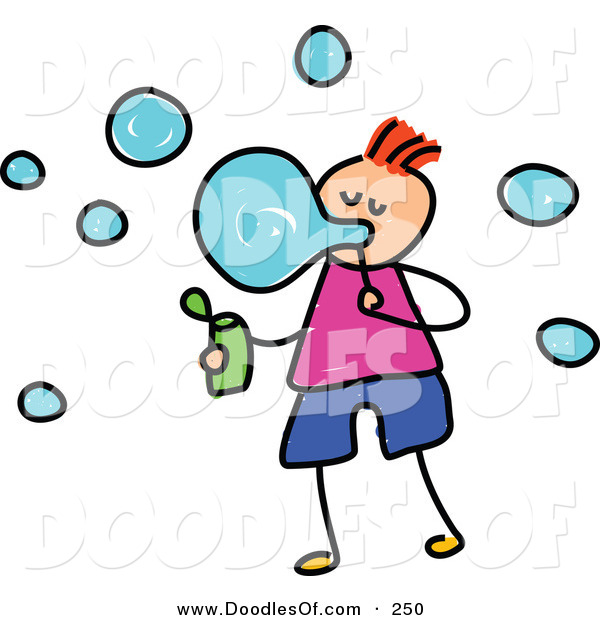 Vector Clipart of a Childs Sketch of a Happy Boy Blowing Bubbles