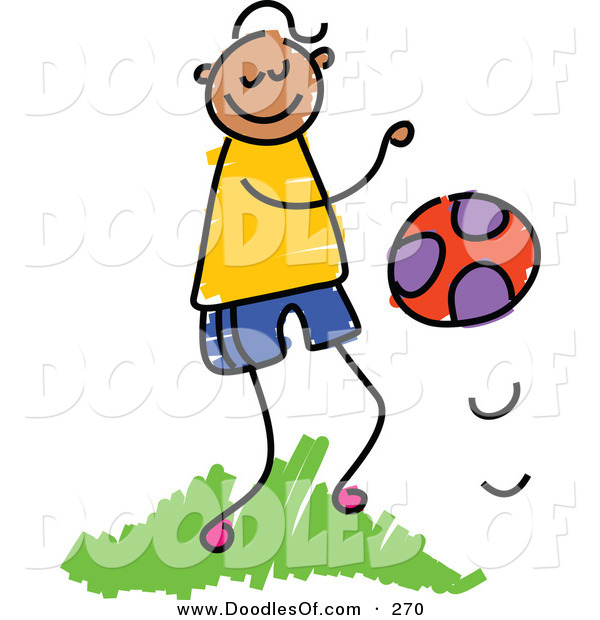 Vector Clipart of a Childs Sketch of a Happy Boy Bouncing a Ball