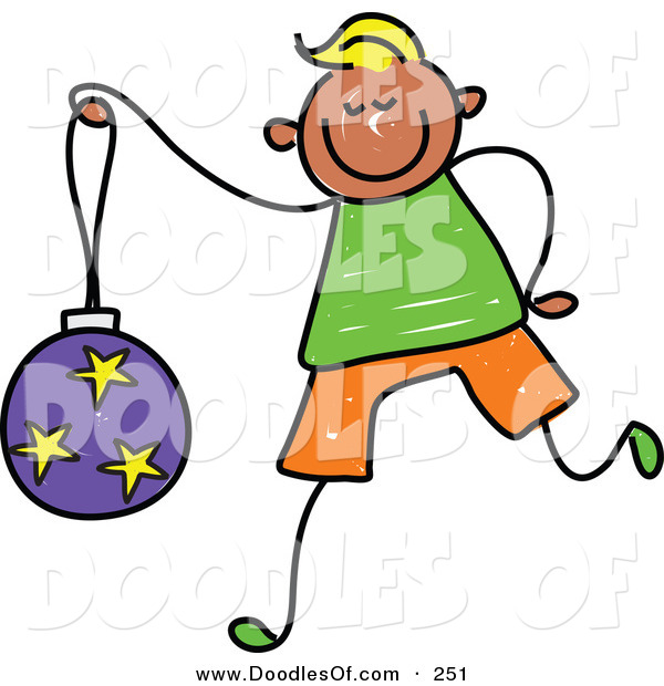 Vector Clipart of a Childs Sketch of a Happy Boy Carrying a Christmas Ball
