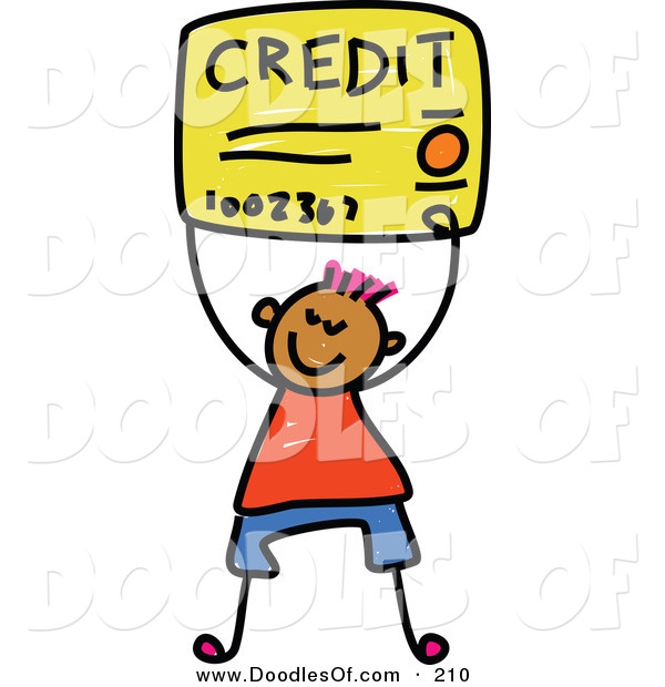 Vector Clipart of a Childs Sketch of a Happy Boy Carrying a Credit Card