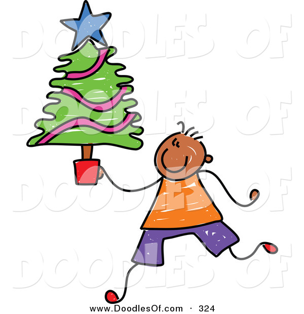 Vector Clipart of a Childs Sketch of a Happy Boy Carrying a Small Christmas Tree