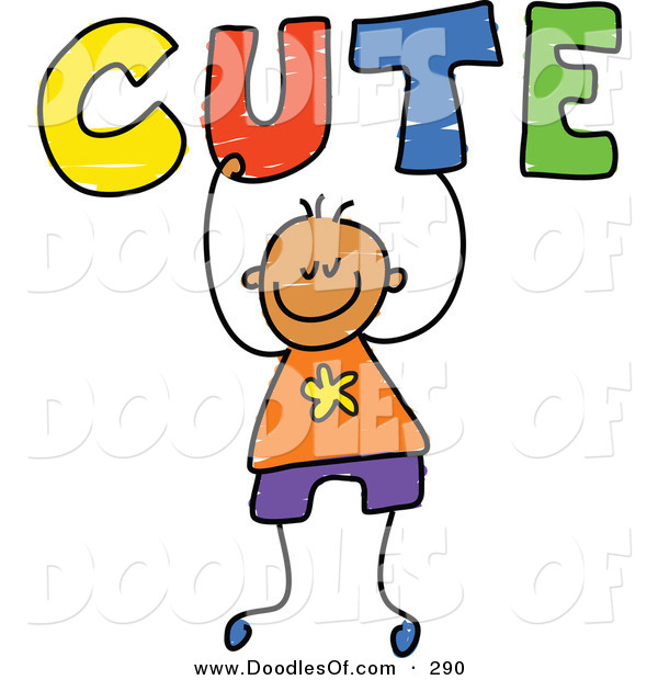 Vector Clipart of a Childs Sketch of a Happy Boy Carrying Cute