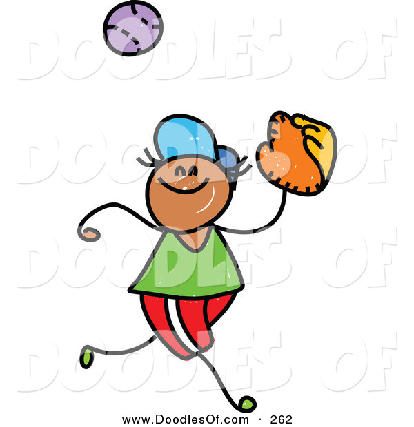 Vector Clipart of a Childs Sketch of a Happy Boy Catching a Baseball