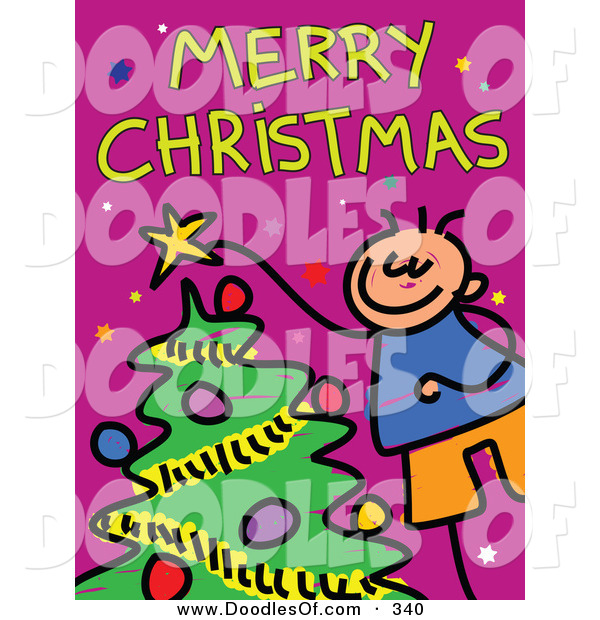 Vector Clipart of a Childs Sketch of a Happy Boy Decorating a Tree Under Merry Christmas