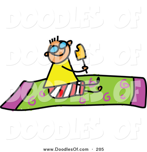 Vector Clipart of a Childs Sketch of a Happy Boy Eating a Popsicle on a Towel