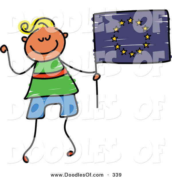 Vector Clipart of a Childs Sketch of a Happy Boy Holding a European Flag