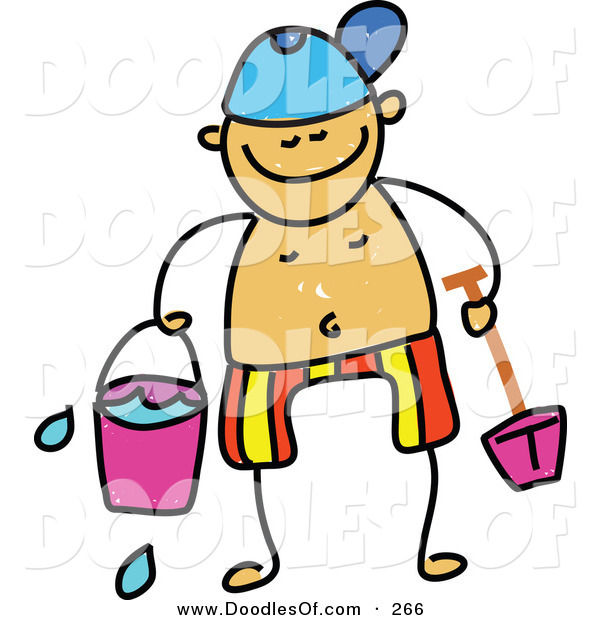 Vector Clipart of a Childs Sketch of a Happy Boy Holding Beach Toys