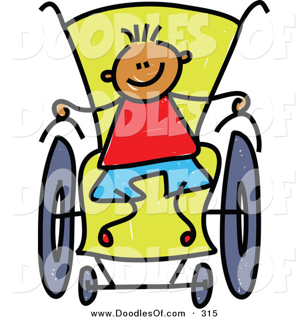 Vector Clipart of a Childs Sketch of a Happy Boy in a Wheelchair