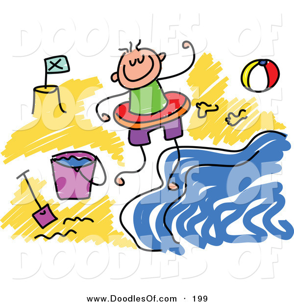 Vector Clipart of a Childs Sketch of a Happy Boy on a Beach