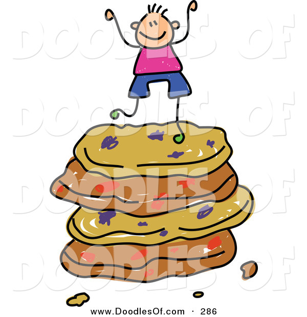 Vector Clipart of a Childs Sketch of a Happy Boy on a Stack of Cookies
