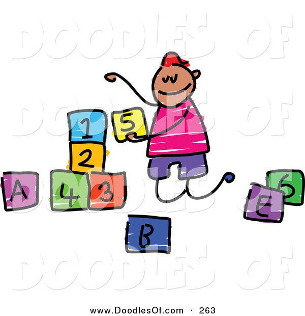 Vector Clipart of a Childs Sketch of a Happy Boy Playing with Letter and Number Blocks