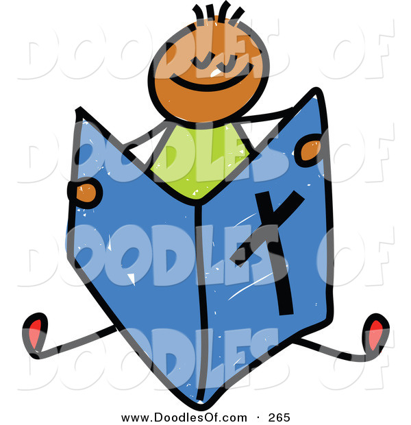 Vector Clipart of a Childs Sketch of a Happy Boy Reading a Bible