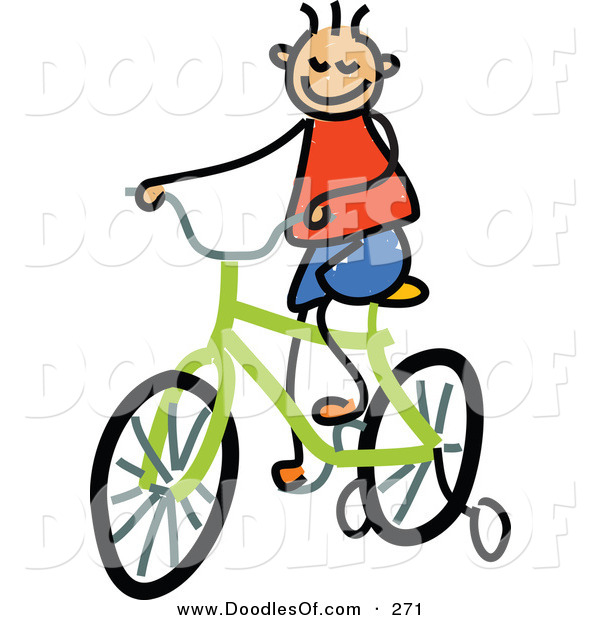 Vector Clipart of a Childs Sketch of a Happy Boy Riding a Bike
