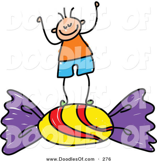 Vector Clipart of a Childs Sketch of a Happy Boy Standing on Candy