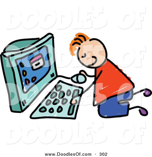 Vector Clipart of a Childs Sketch of a Happy Boy Using a Computer