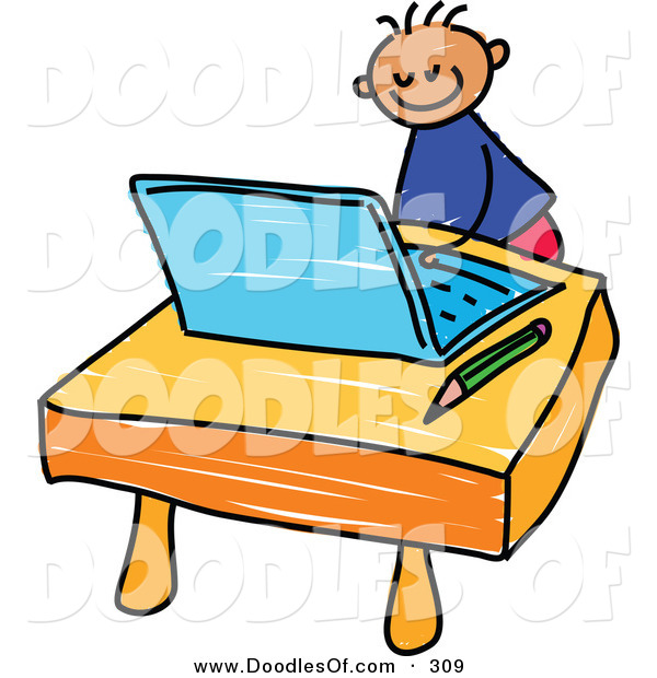 Vector Clipart of a Childs Sketch of a Happy Boy Using a Laptop