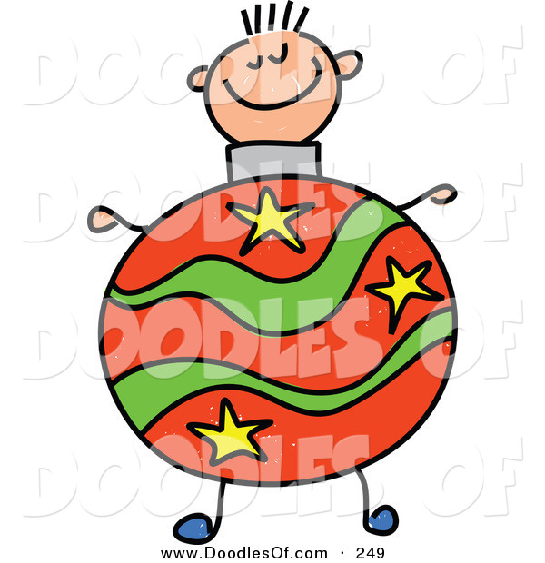 Vector Clipart of a Childs Sketch of a Happy Boy with a Christmas Ball Body