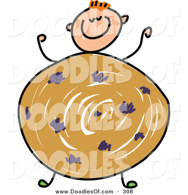 Vector Clipart of a Childs Sketch of a Happy Boy with a Cookie Body