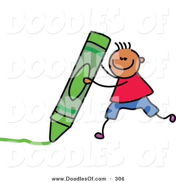Vector Clipart of a Childs Sketch of a Happy Boy with a Crayon
